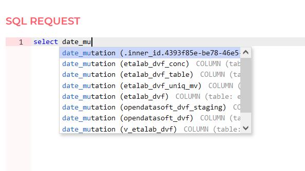 Auto-complétion de la requête SQL